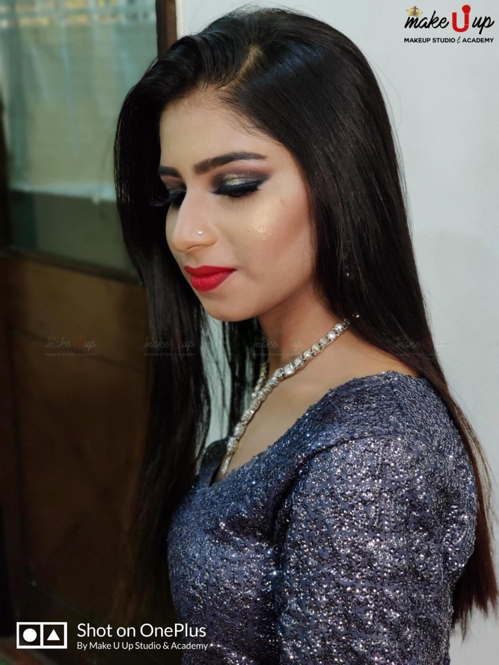 party makeup with hairstyle