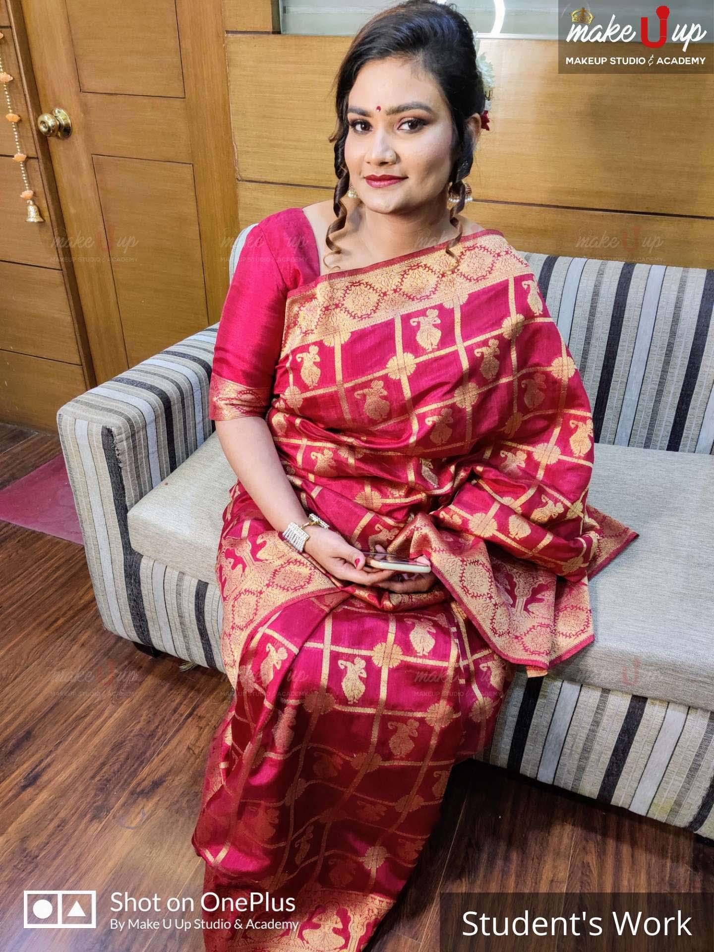 party makeup in saree